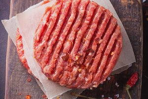 Raw Ground beef meat Burger steak cu