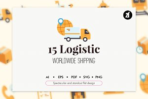 15 Logistic elements in flat design
