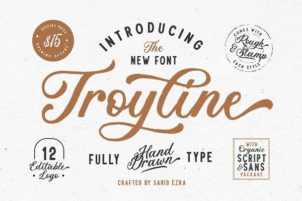 Script Fonts: Sarid Ezra - Troyline - Font Duo (+Logotype)