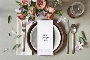 4x9 menu card mockup for wedding