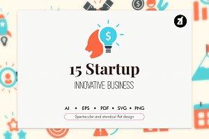 15 Startup elements in flat design