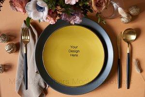 Blank wedding plate mockup stock
