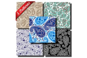 5 Paisley Seamless Patterns