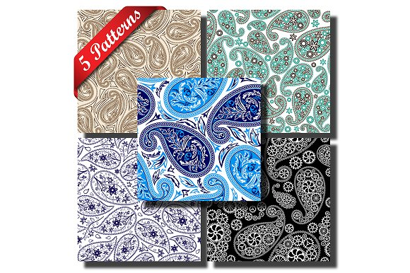 5 Paisley Seamless Patterns
