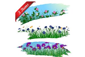 Set of 3 Frames With Flower Meadow