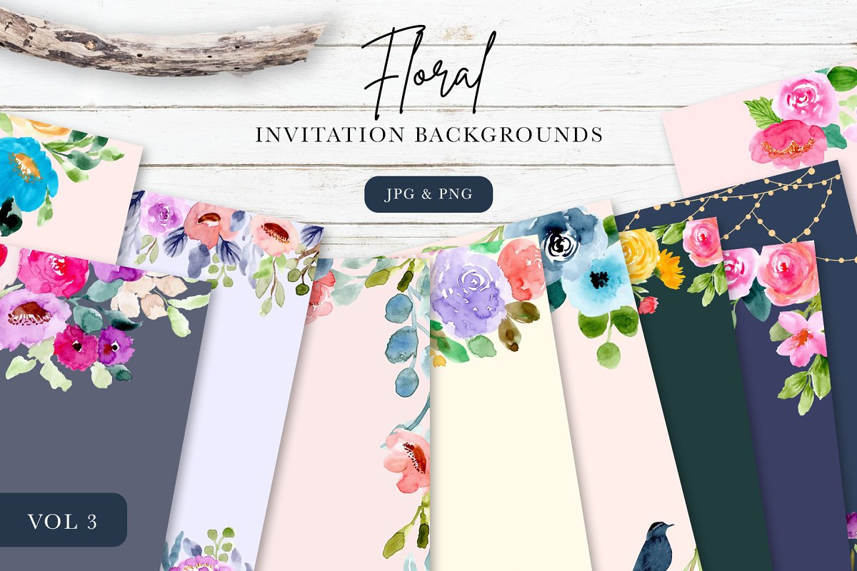 Floral Invitation Backgrounds Vol3 Wedding Templates Creative