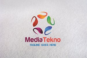 Media Techno colorful logo template