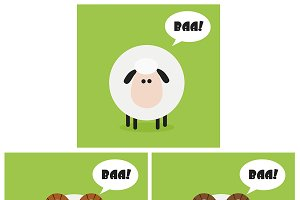 Flat Design Sheep And Ram Collection