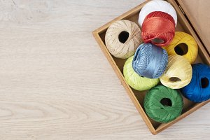 Set of colorful threads for knitting