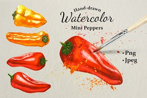 Hand-drawn Watercolor Mini Peppers