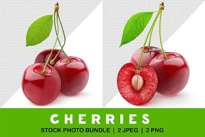 Isolated three cherries with leaf