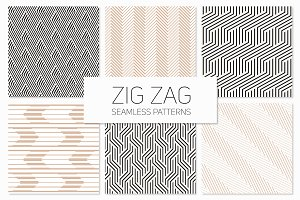 Zig Zag Seamless Patterns Set