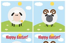 Flat Design Ram And Sheep Collection