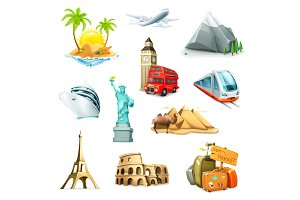 Attractions and travel icons