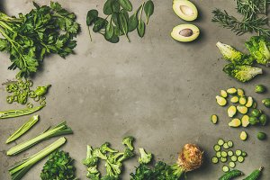 Flat-lay of whole and cut green