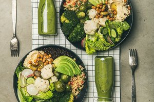 Flat-lay of healthy dinner with