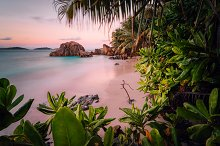 Paradise exotic beach on La Digue by  in Nature