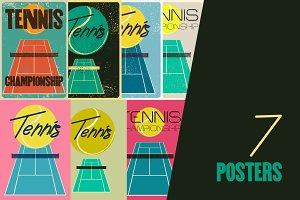 Set of tennis vintage posters.