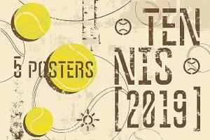 Tennis 2019 vintage grunge posters.