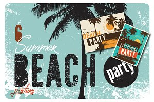 Summer Beach Party vintage posters.