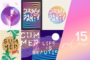 Summer Party geometrical posters.