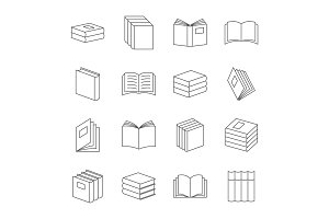 Books thin line icons vector. Book