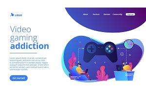 Gaming disorder concept landing page