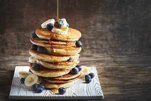 Pancakes with banana and blueberry