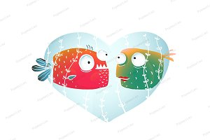 Underwater Cartoon Fish in Love