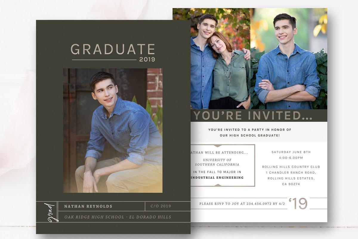 Guys Graduation Invite Template