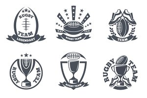 Rugby team vector badges and logos