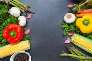 Vegetables on slate table