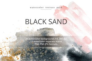 Black Sand. Watercolor texture pack.