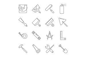 Construction tool icon collection -
