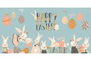 Cute rabbit and bunny with Easter