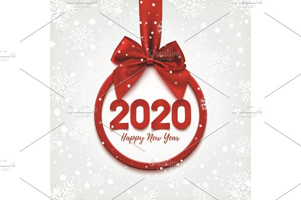 Happy New Year 2020 round banner.