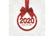 Happy New Year 2020 round banner.