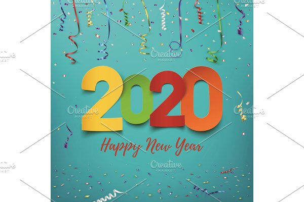 Happy New Year 2020. Abstract design