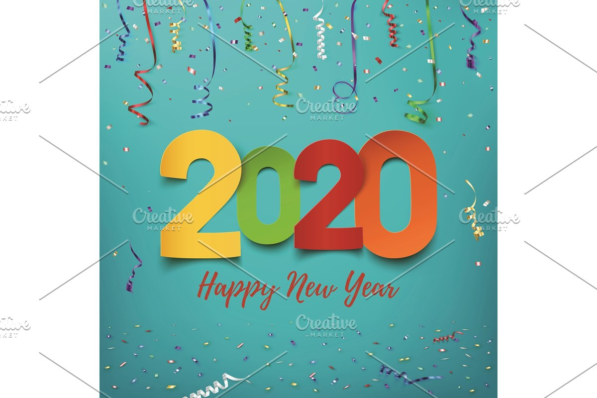 Happy New Year 2020. Abstract design in Objects - product preview 8