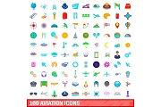 100 aviation icons set, cartoon