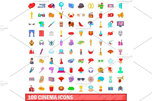 100 cinema icons set, cartoon style
