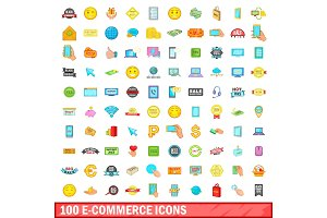 100 e-commerce icons set, cartoon