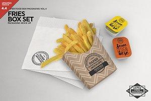 Fries Box Condiments Set Mockup