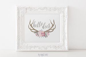 Hello Deer Antler Printable Art