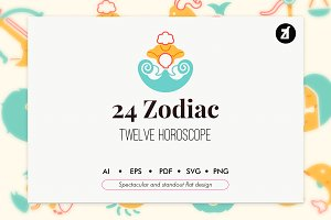 24 Zodiac elements in flat design