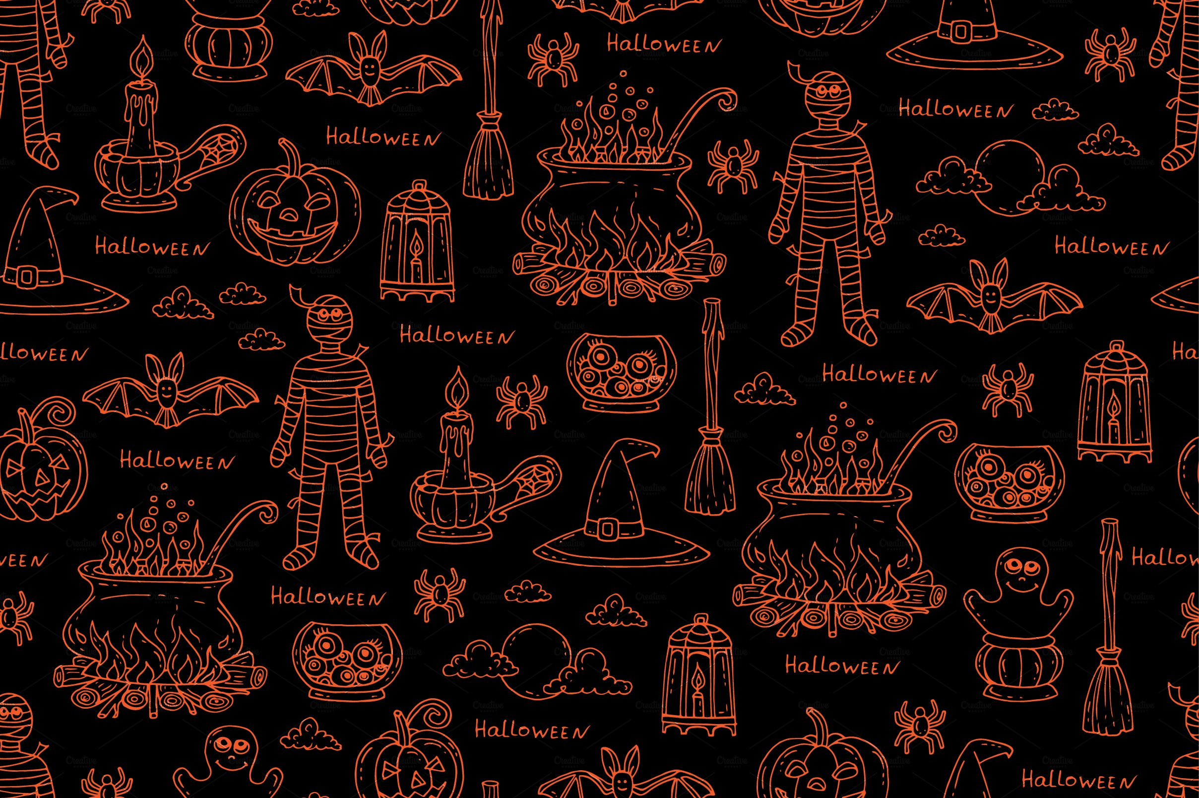 pattern on the theme of halloween graphic patterns creative market