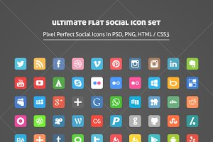 Ultimate Flat Social Icon Set