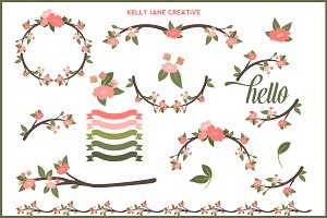 Blossoms Branches & Ribbons Vector