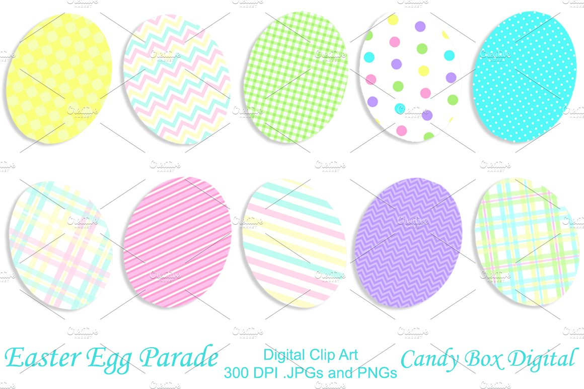 Patterned Easter Egg Clip Art Objects Creative Market