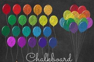 Chalkboard Rainbow Balloons Clipart